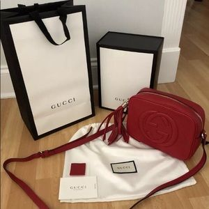 Red Gucci Leather Gucci Soho Disco Crossbody Bag